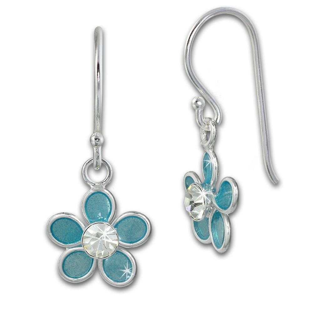Kinder Ohrring 3D Blume blau Ohrhänger 925 Kinderschmuck TW SDO8139H