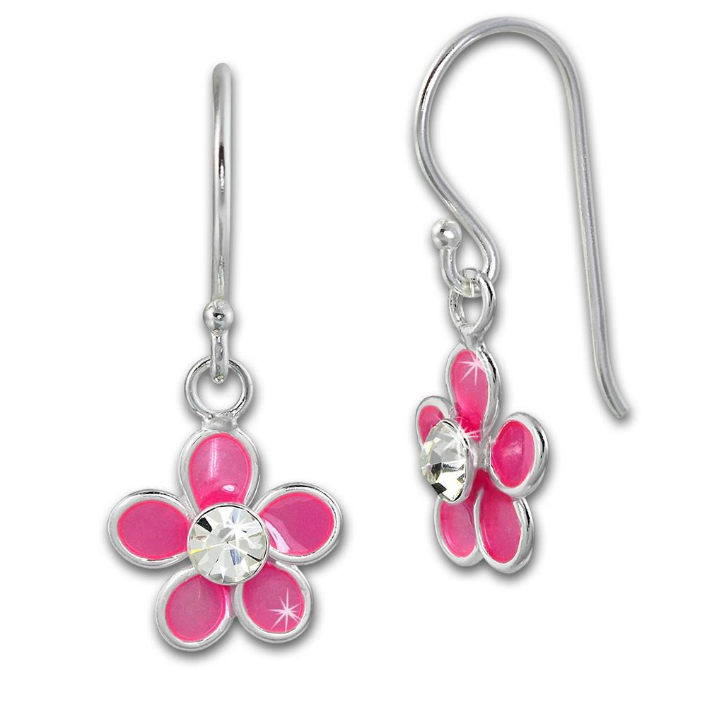 Kinder Ohrring 3D Blume pink Ohrhänger 925 Kinderschmuck TW SDO8139P