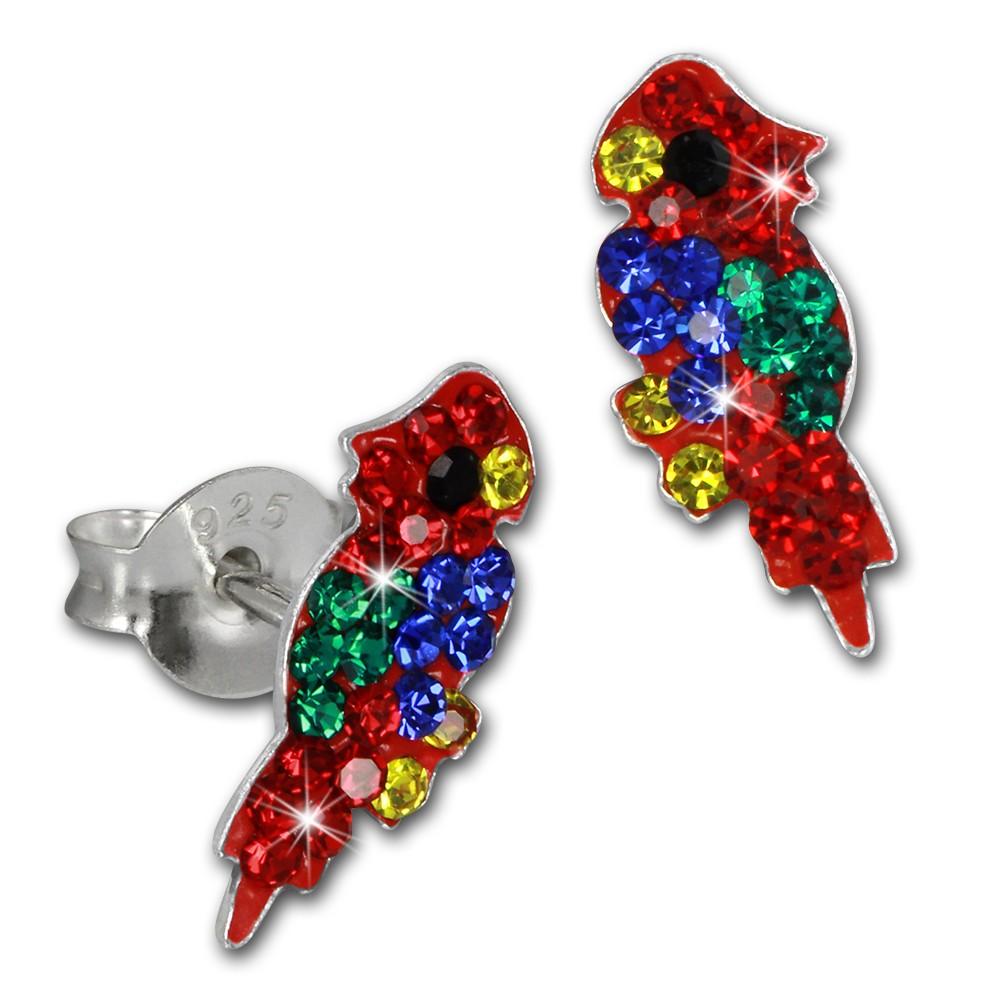 Kinder Ohrring Papagei Zirkonia 925er Silber Ohrstecker Ohrschmuck TW SDO8155R