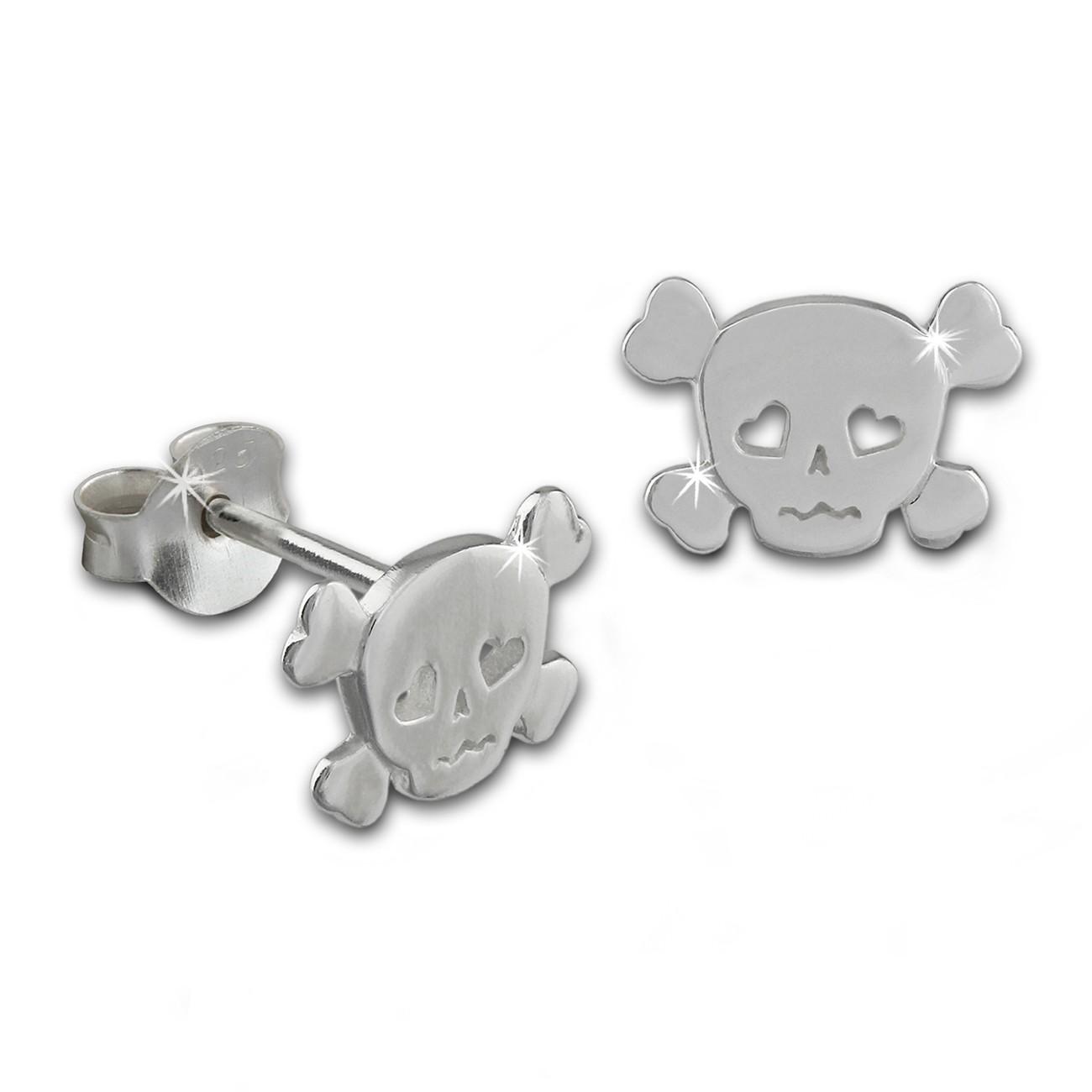 SilberDream Ohrstecker Totenkopf 925 Sterling Silber Ohrring SDO8208J