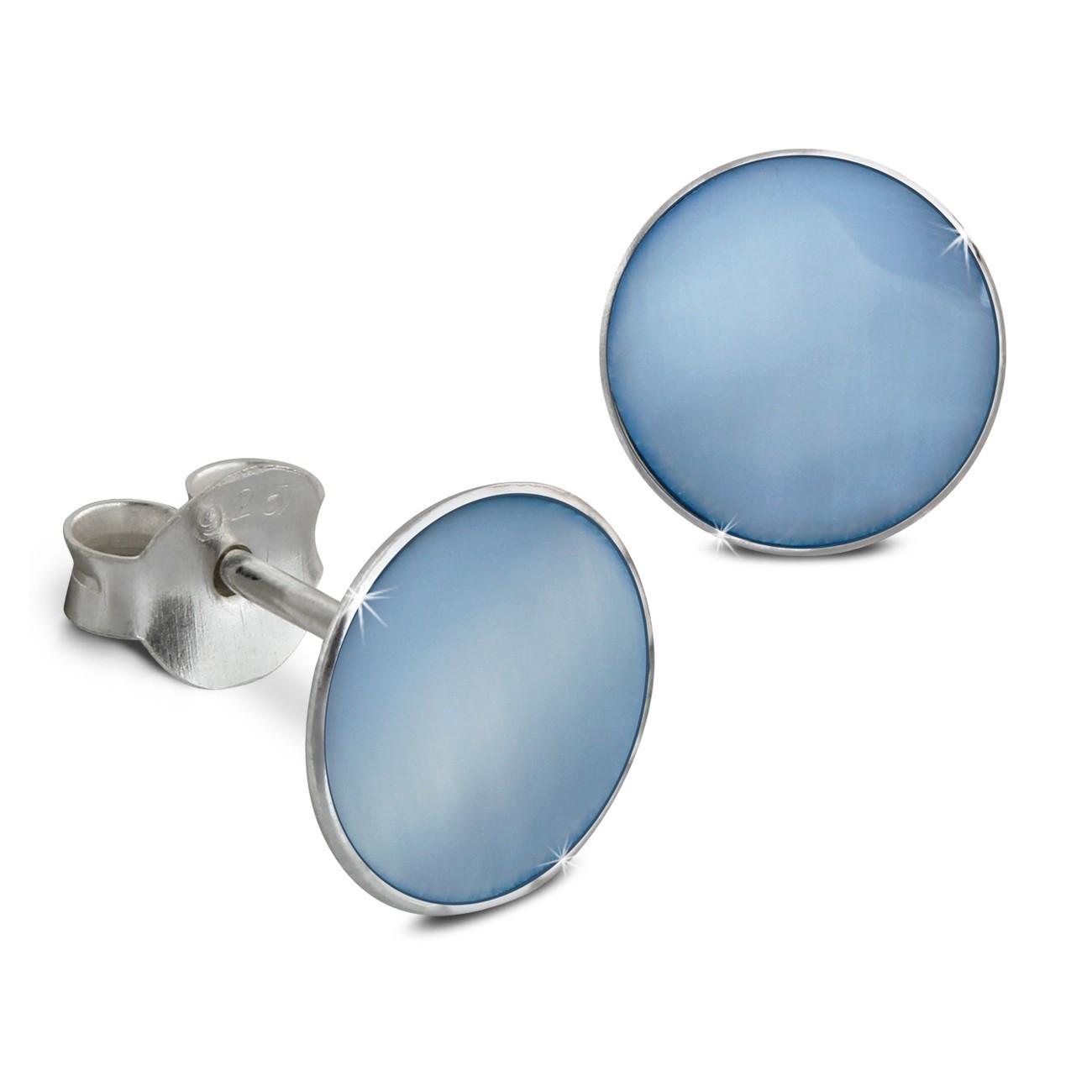 SilberDream Ohrstecker Shell hellblau 0,8cm 925 Silber SDO8500H