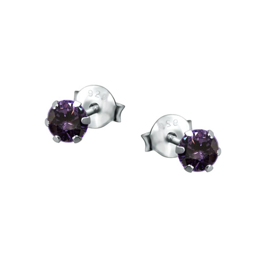 SilberDream Ohrstecker Zirkonia lila 925 Silber Ohrring SDO8503V