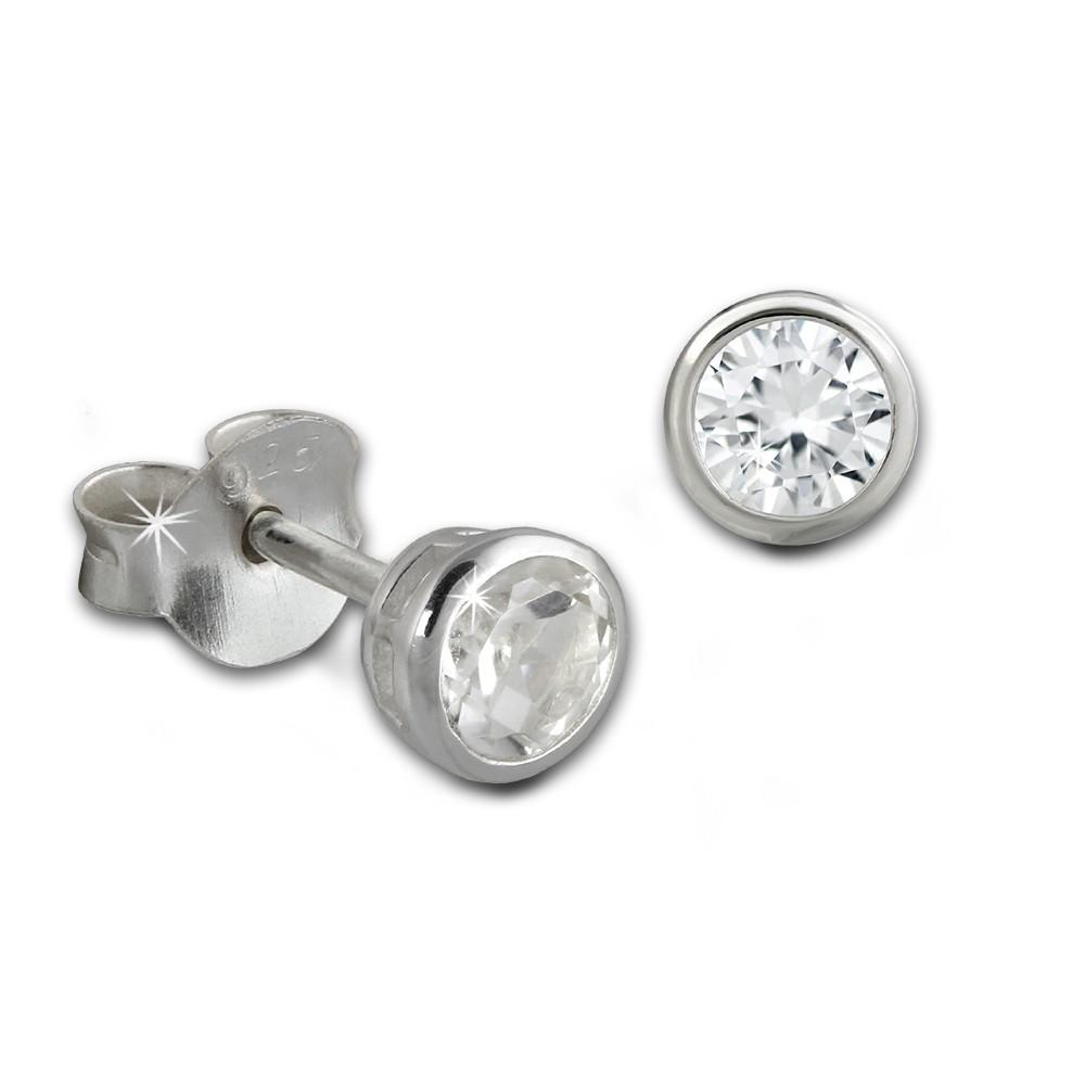 SilberDream Ohrstecker Zirkonia Rund 4mm weiß 925 Silber SDO8508W