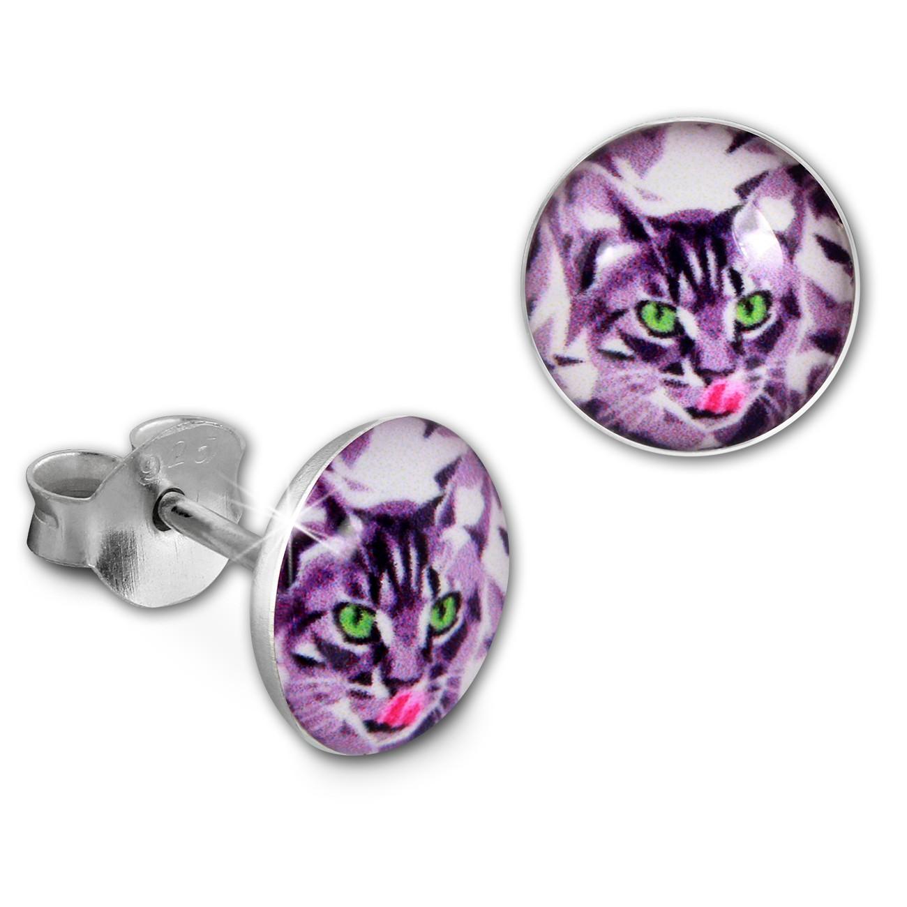 SilberDream Ohrstecker Logo Print Katze Kinder Damen Ohrring 925 Silber SDO85132