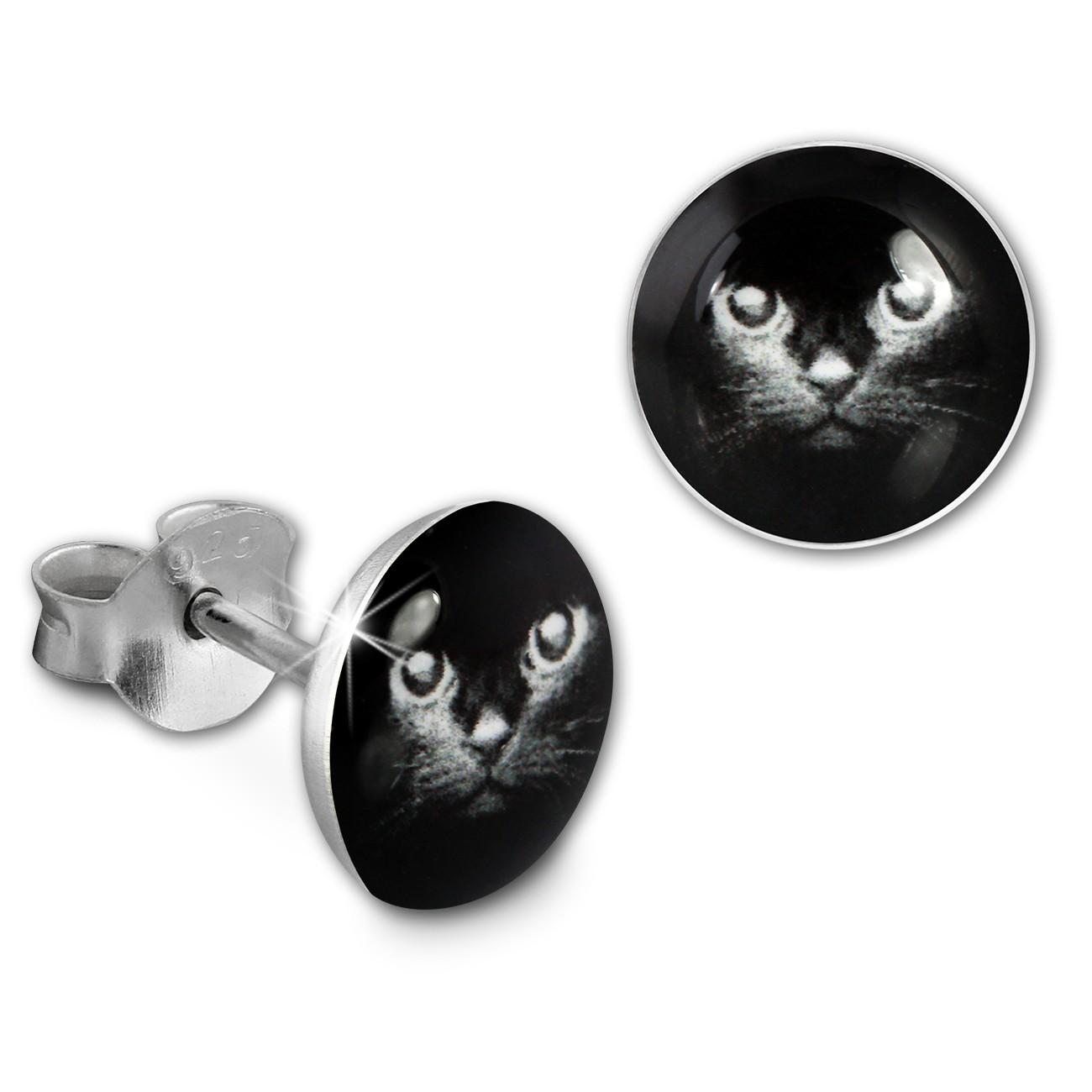 SilberDream Ohrstecker Logo Print Katze Kinder Damen Ohrring 925 Silber SDO85133