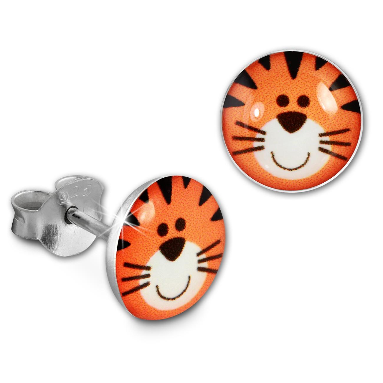 SilberDream Ohrstecker Logo Print Tiger Kinder Damen Ohrring 925 Silber SDO85138