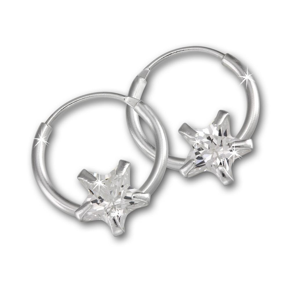 Kinder Creole Stern Zirkonia weiß 925 Silber Ohrring Kinderschmuck TW SDO8704W