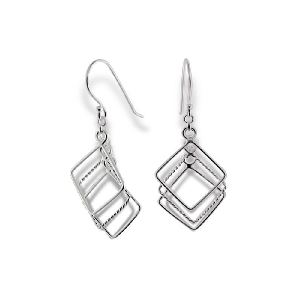 SilberDream Ohrringe Quadrate glänzend 925 Silber Ohrhänger SDO8801