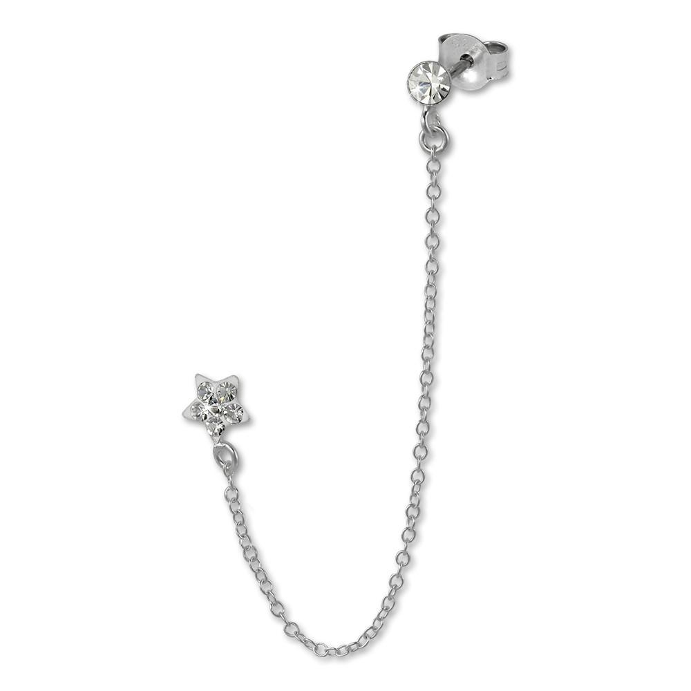 SilberDream Doppel Ohrstecker Stern Zirkonia Piercing 925 Silber SDO8861W