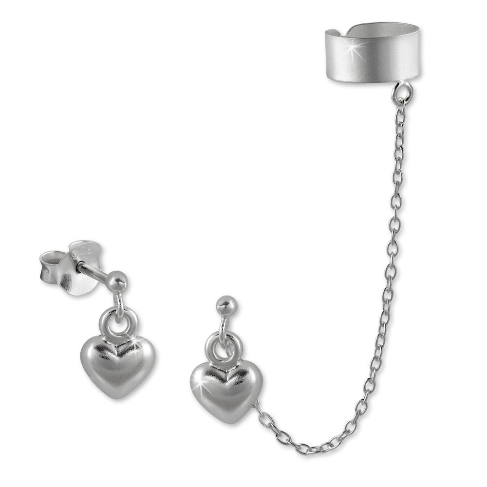 SilberDream Ohrstecker Herz mit einem Helix Ohr Clip 925 Silber SDO8871