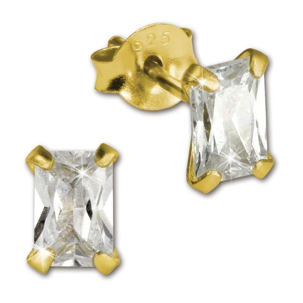 SilberDream Ohrstecker vergoldet Rechteck weiß 925er Ohrring SDO9116YW