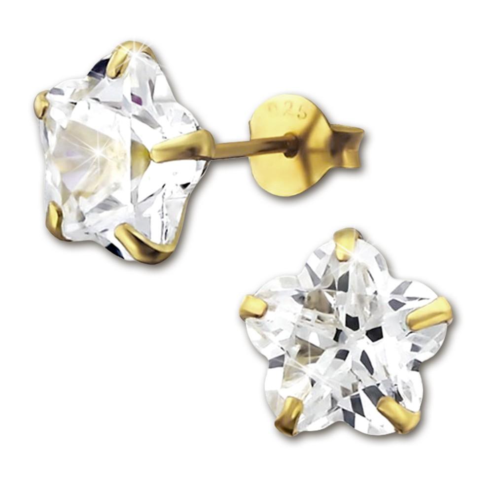 SilberDream Ohrstecker vergoldet Blume weiß 925er Ohrring SDO9128YW