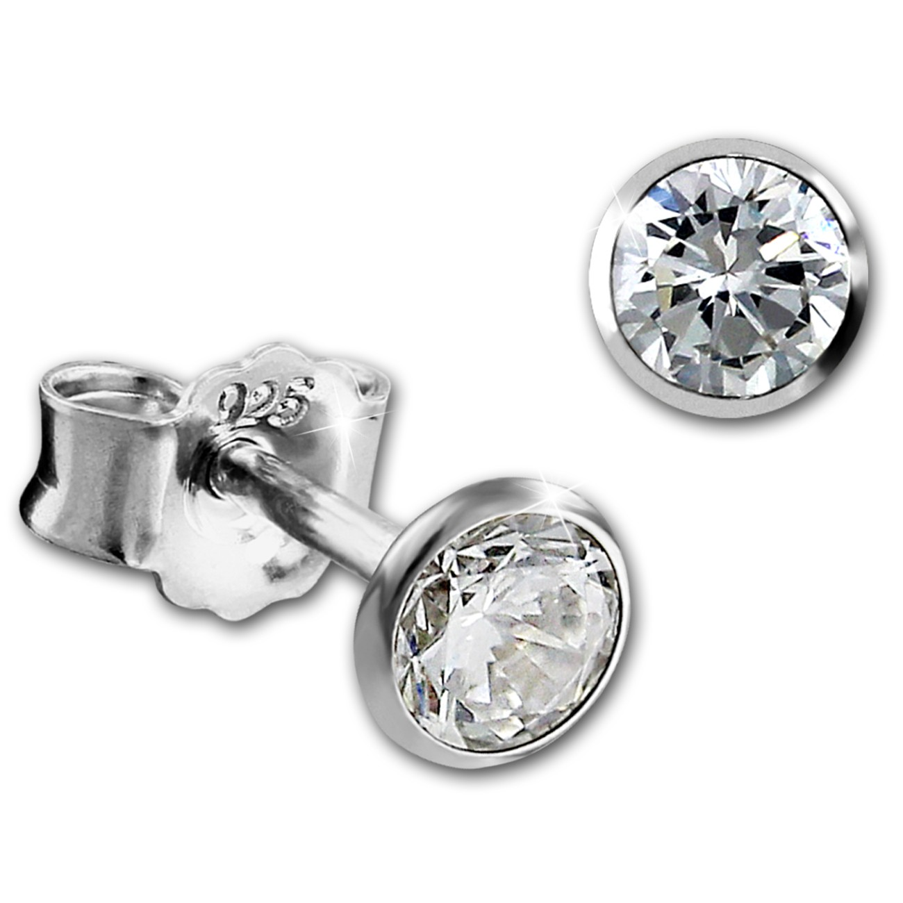SilberDream Ohrringe Zirkonia weiß 4mm 925 Silber Ohrstecker SDO9204W