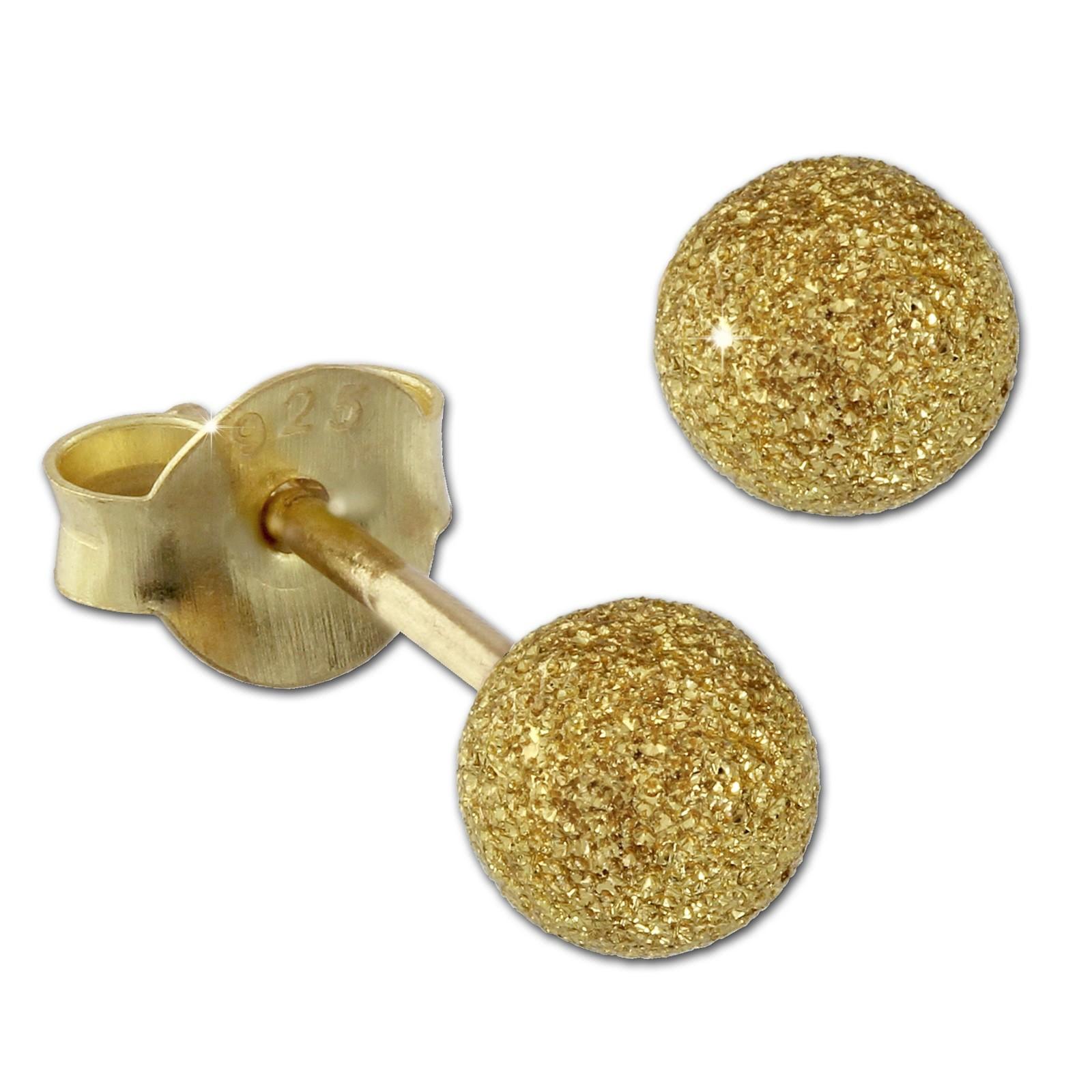 SilberDream Ohrstecker vergoldet Kugel 4mm diamantiert 925er Ohrring SDO9514Y