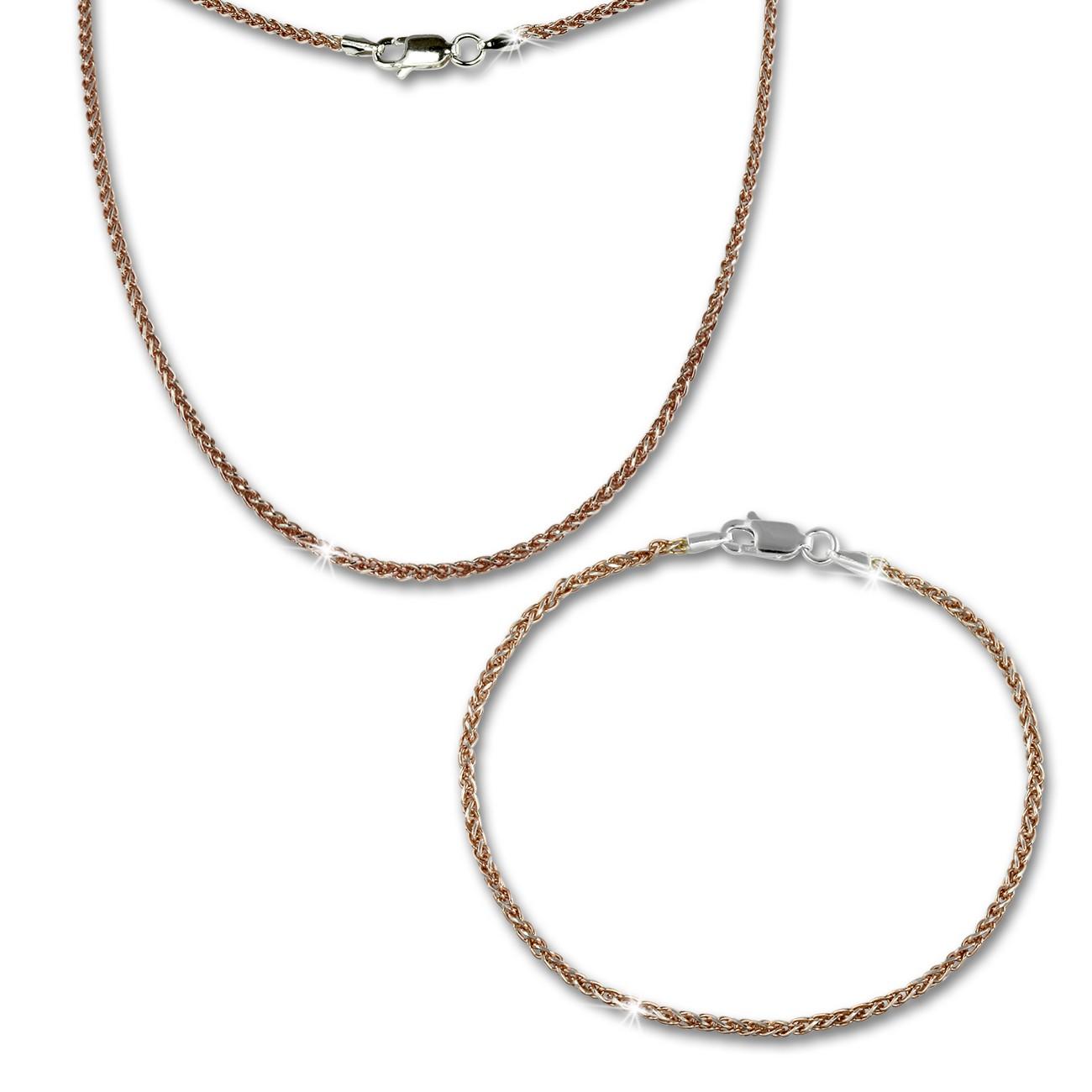 SilberDream Schmuckset Zopf Rose vergoldet Kette & Armband 925 Silber SDS206E