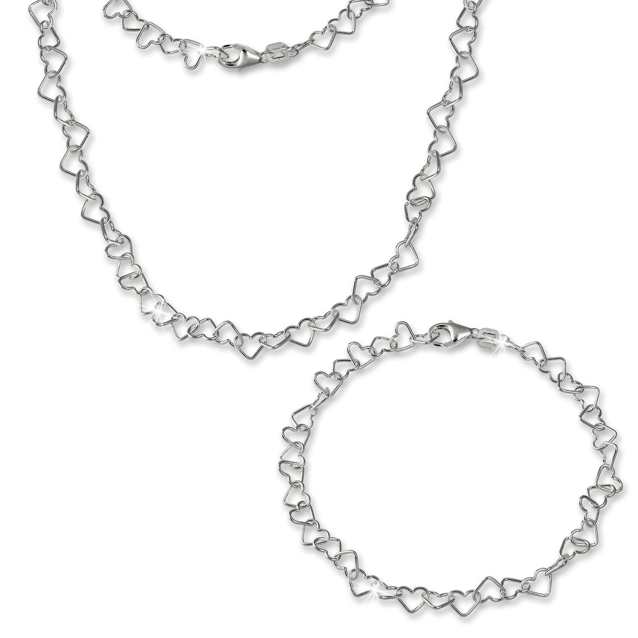 SilberDream Schmuckset Herz Kette & Armband 925 Sterling Silber SDS211J