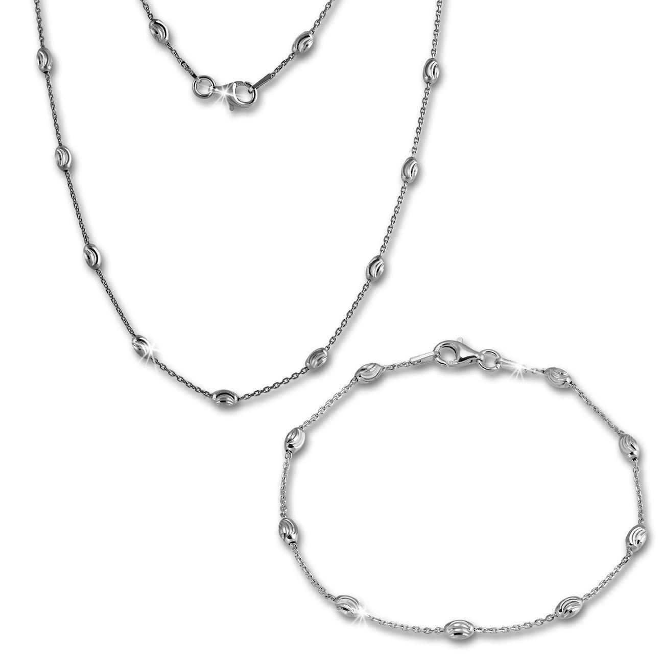 SilberDream Schmuckset Glamour Kette & Armband 925er Sterling Silber SDS238J