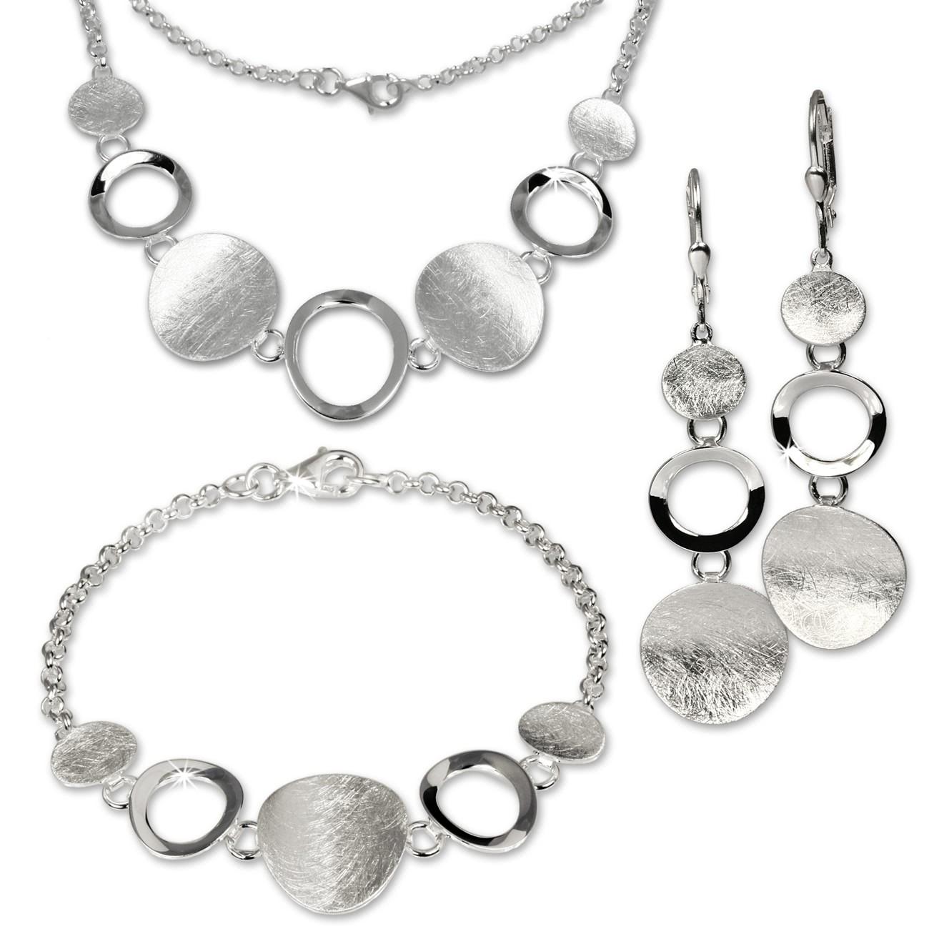 SilberDream Schmuck Set Collier, Armband, Ohrringe matt Silber SDS400