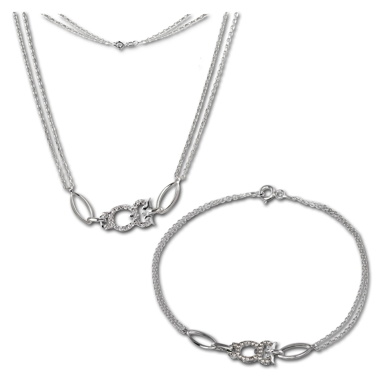SilberDream Schmuckset Eule Zirkonia Kette & Armband 925 Silber SDS424W
