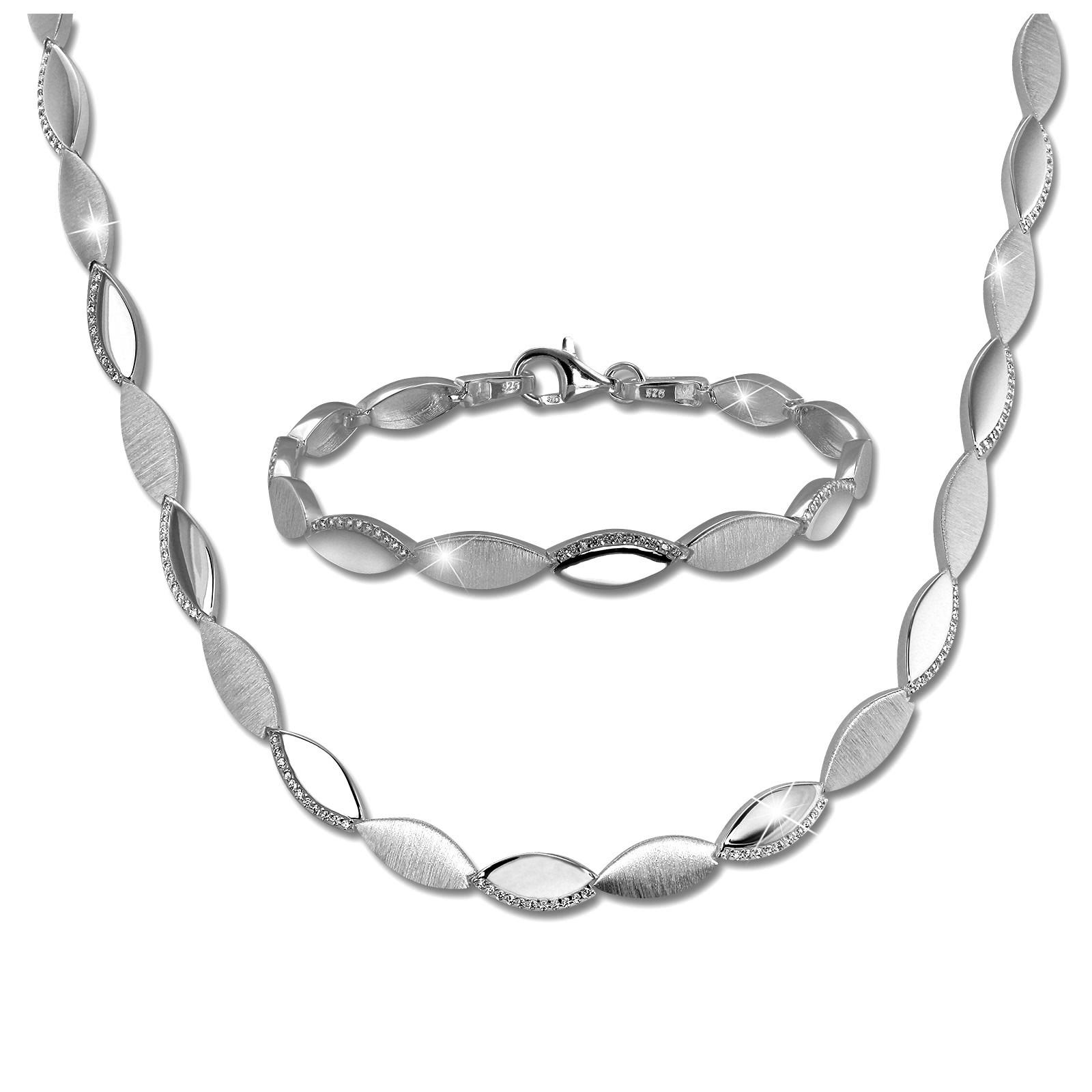 SilberDream Schmuck Set Elegance Zirkonia Collier & Armband Damen 925er SDS453W