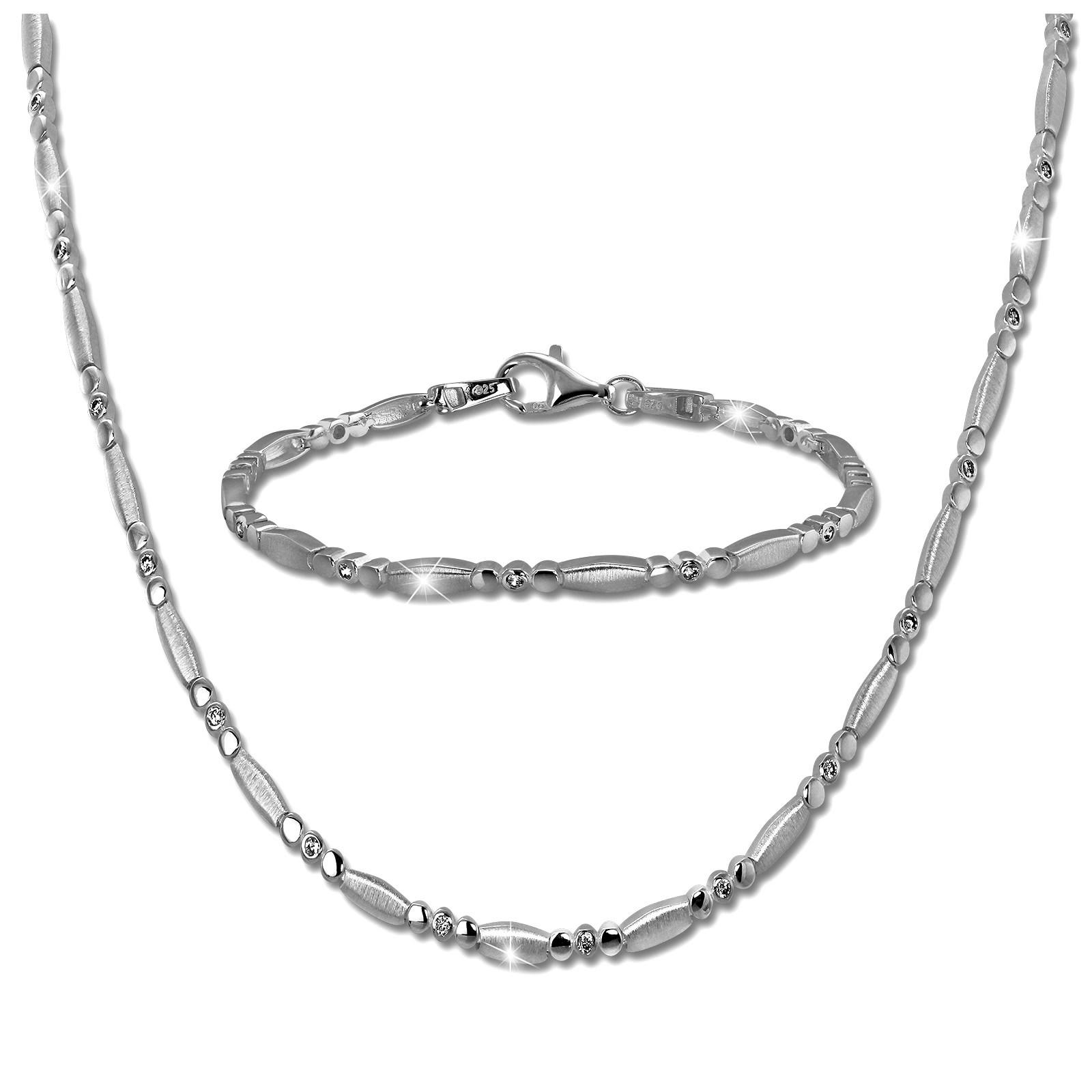 SilberDream Schmuck Set Elegant Zirkonia Collier & Armband Damen 925er SDS458W