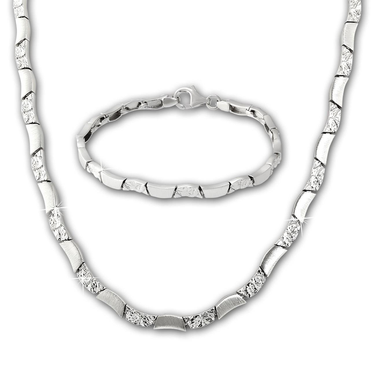 SilberDream Schmuck Set Wave Collier & Armband Damen 925 Silber SDS477J