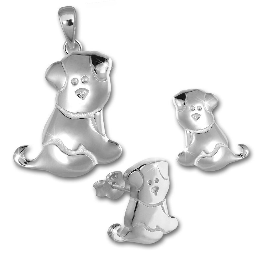 Teenie-Weenie Kinder Schmuck Set 925 Silber Hündchen SDS4910J