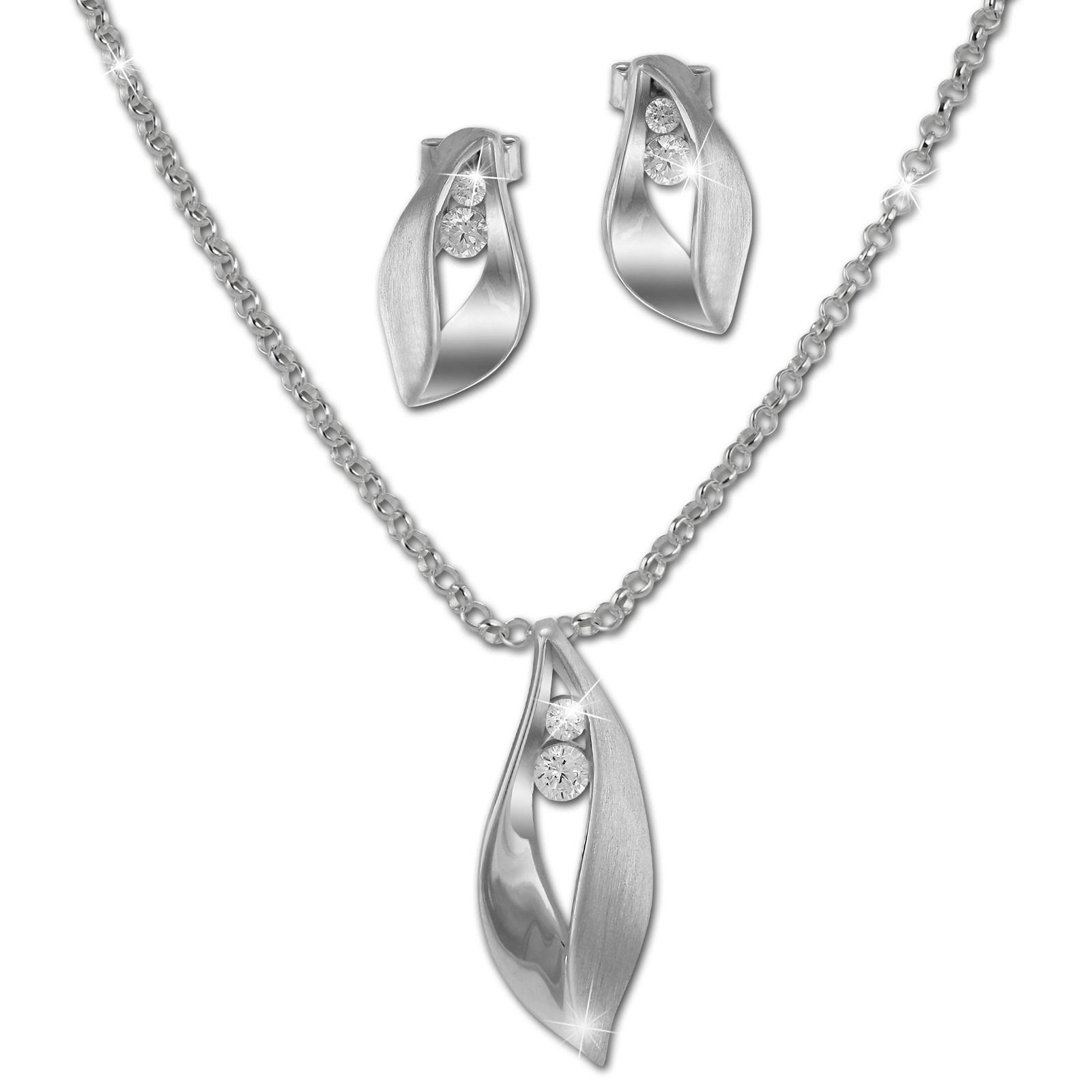 SilberDream Schmuck Set Kette und Ohrringe Blatt Zirkonia 925 Silber SDS49143