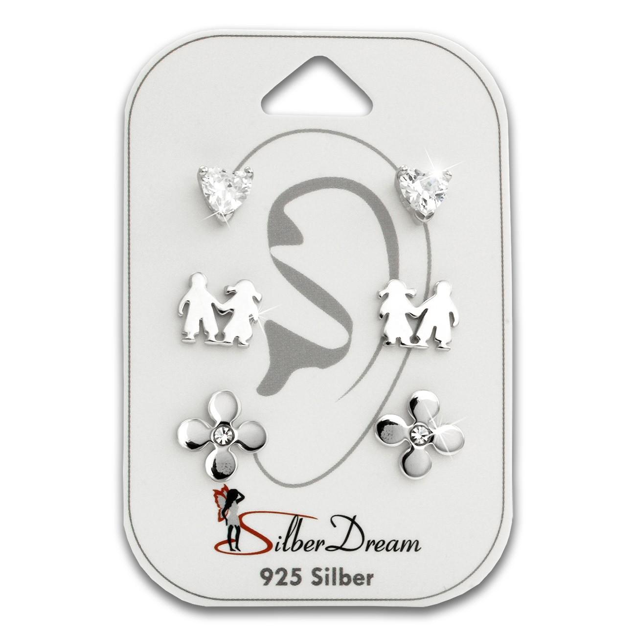 SilberDream Ohrstecker 3er Set Herz, Freunde, Blume 925er Ohrring SDS610WJ