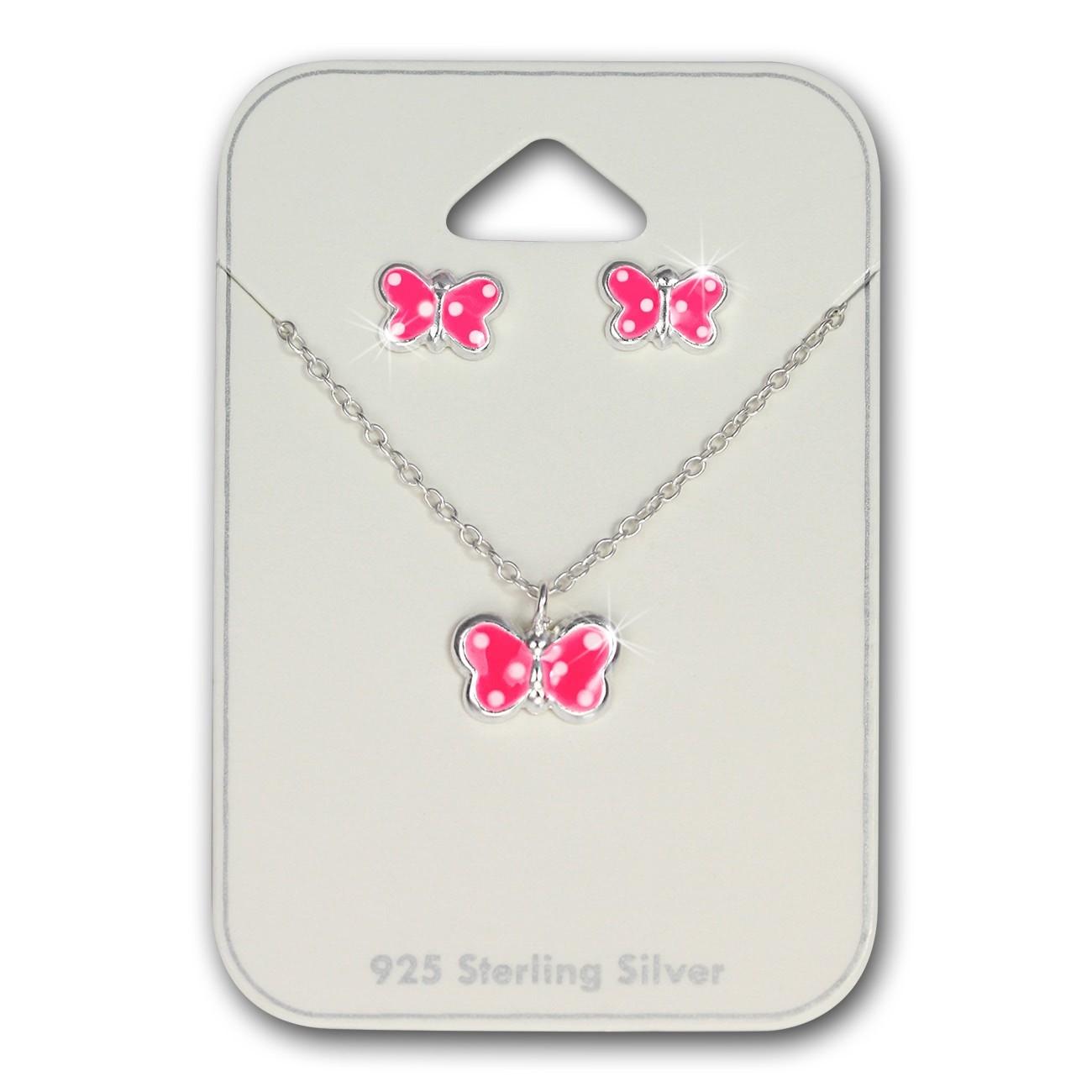 TW Kinder Schmuck Schmetterling pink Ohrstecker und Kette 925 Silber SDS807