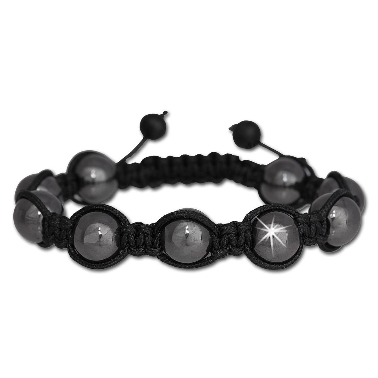 SilberDream Shamballa Armband Luxus schwarz aus Hämatit Kugeln SDY900