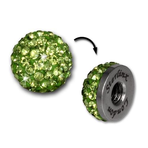Glitzerkugel hellgrün für Sterlinx London Shamballa Armband SHB00L