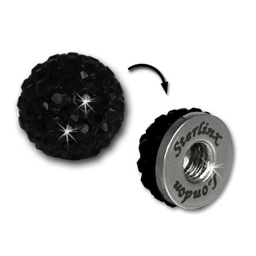 Glitzerkugel schwarz für Sterlinx London Shamballa Armband SHB00S