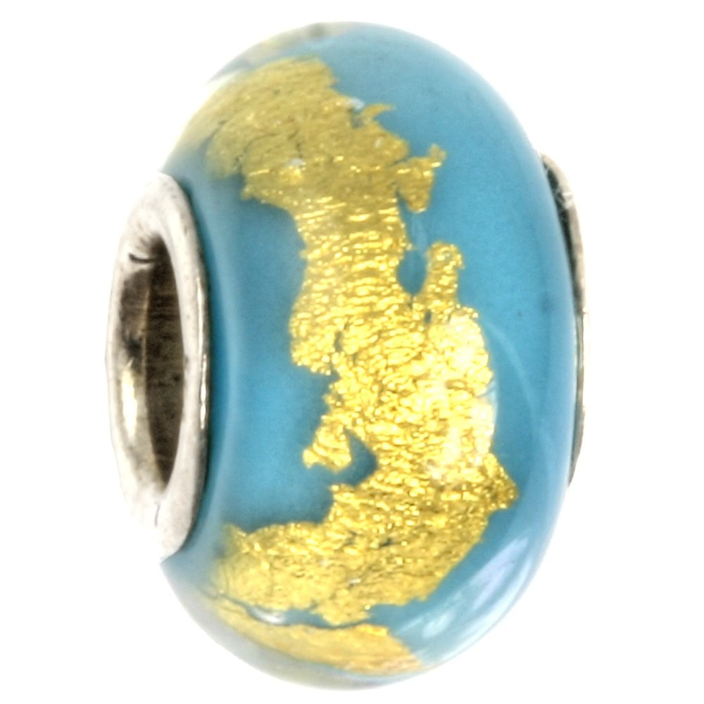 IMPPAC Glas 925 Spacer gold Aqua European Beads SMB0315