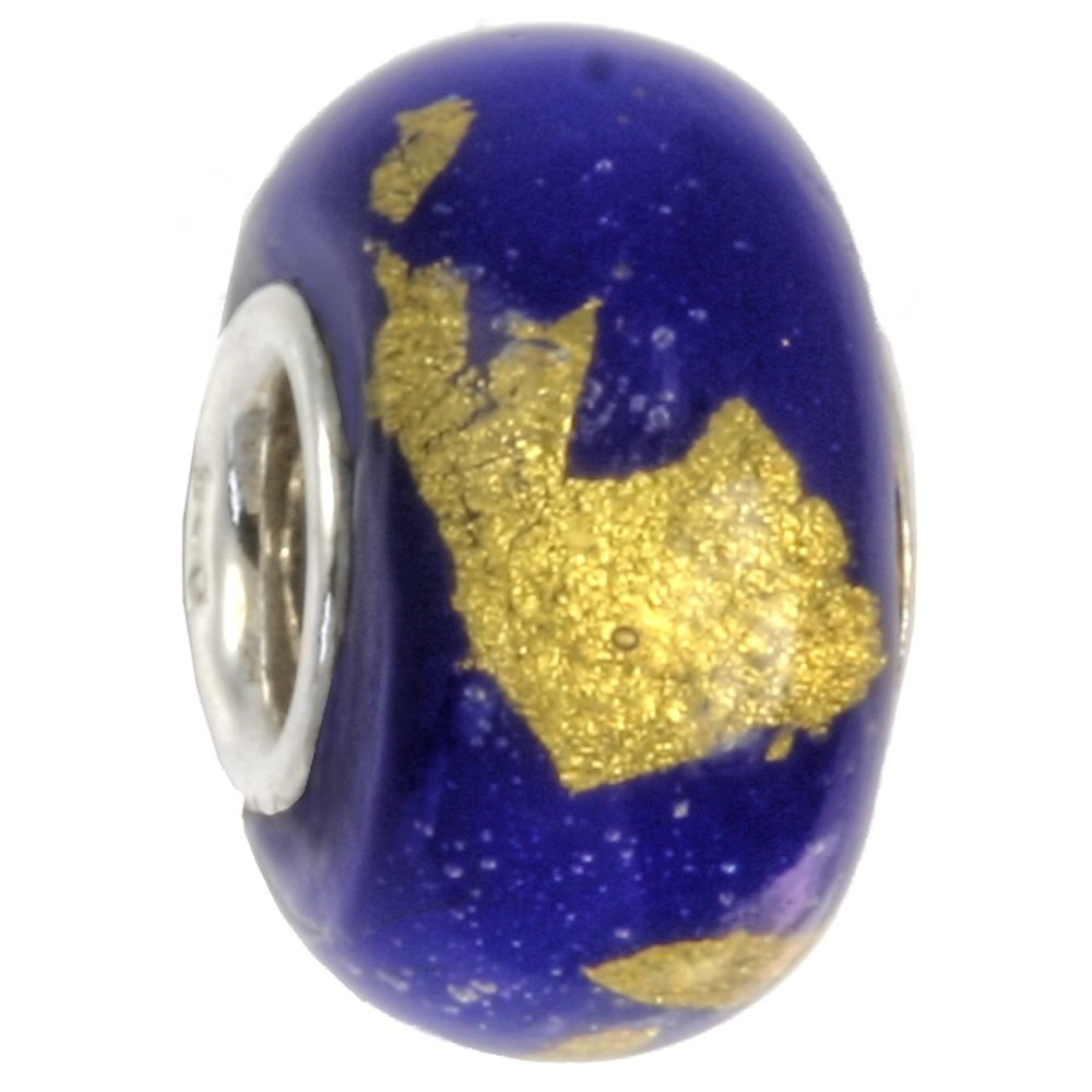 IMPPAC Glas 925 Spacer gold blau European Beads SMB0316