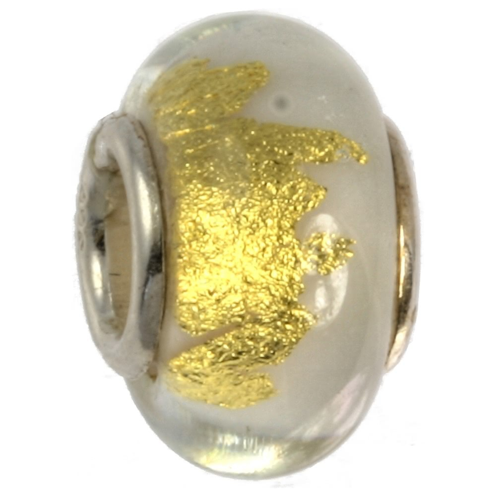 IMPPAC Glas 925 Spacer gold weiß European Beads SMB0317