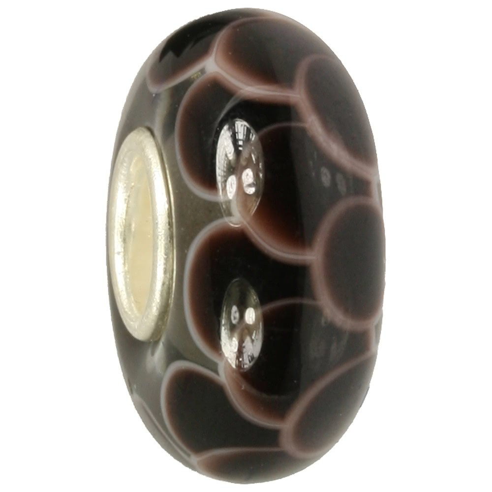 IMPPAC Glas Bead Ziegel dunkelbraun 925 Silber European Beads SMB8111