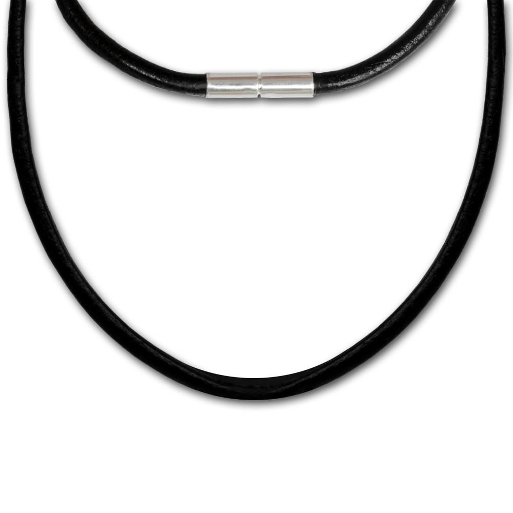 SilberDream Leder Kette 42cm schwarz 3mm Bajonett für Charms SML1042
