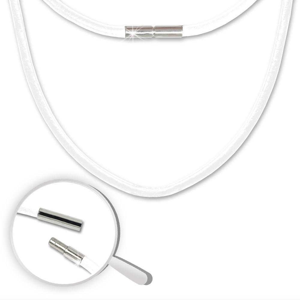 SilberDream Leder Kette 50cm weiß 3mm Bajonett für Charms SML1150