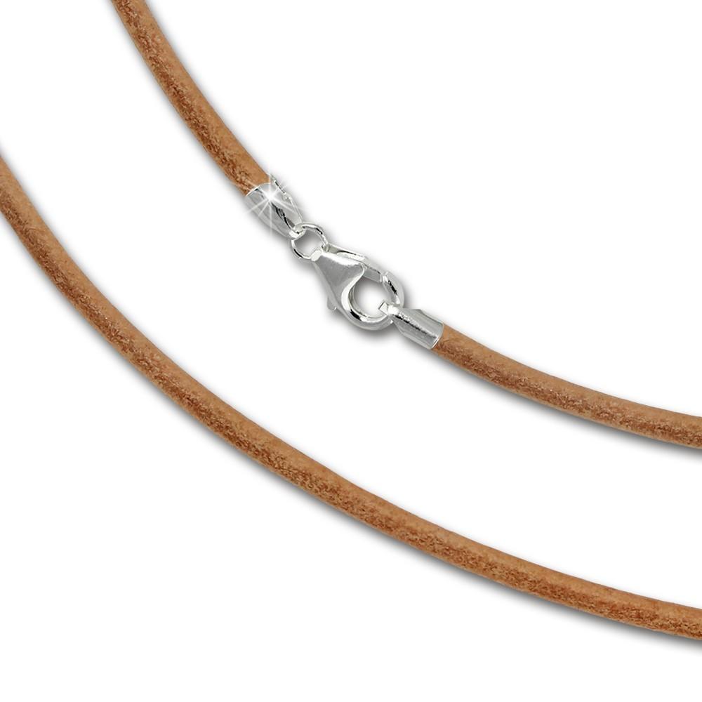 SilberDream Leder Kette 50cm natur 2mm für Charms SML7050