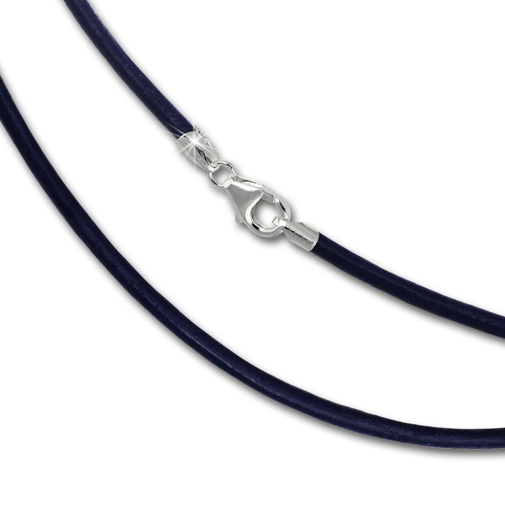 SilberDream Leder Kette 70cm blau 2mm für Charms SML7270