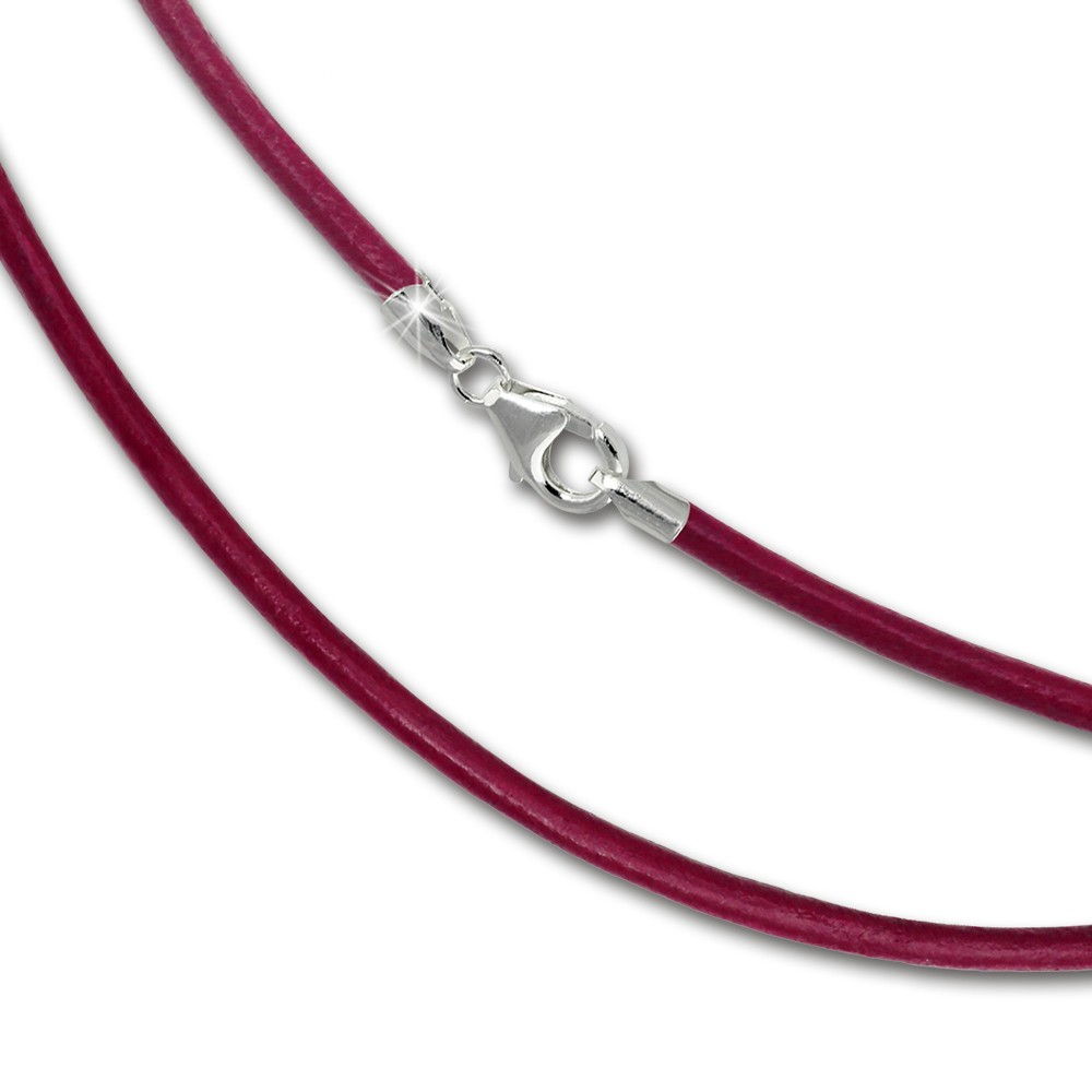 SilberDream Leder Armband 21cm pink 2mm für Charms SML7421