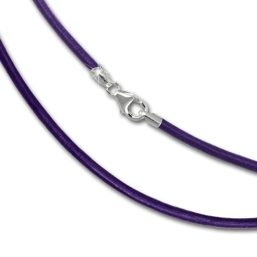 SilberDream Leder Kette 50cm lila 2mm für Charms SML7750