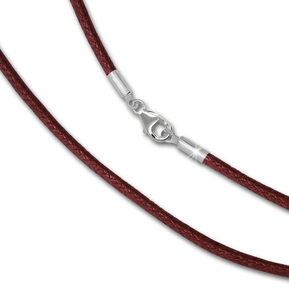 IMPPAC Textil Kette Silber bordeaux für European Beads SML8370
