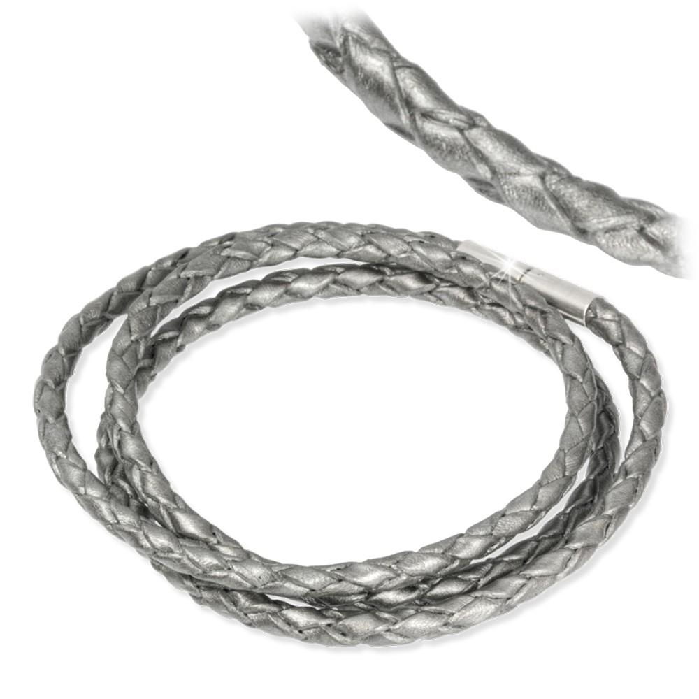 IMPPAC Leder Armband geflochten silber dreifach SMLA3351