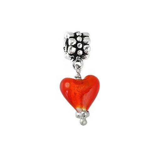 IMPPAC 925 Silber Bead Glas Dangle rot European Beads SMQ048R