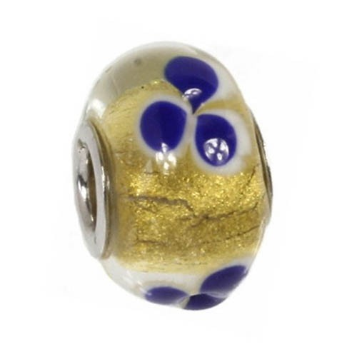 IMPPAC 925 Glas Bead gold klar European Beads SMQZ03