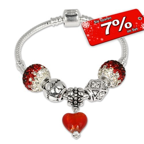 IMPPAC Glitzer Armband + 5 Beads Silber European Bead SMW062