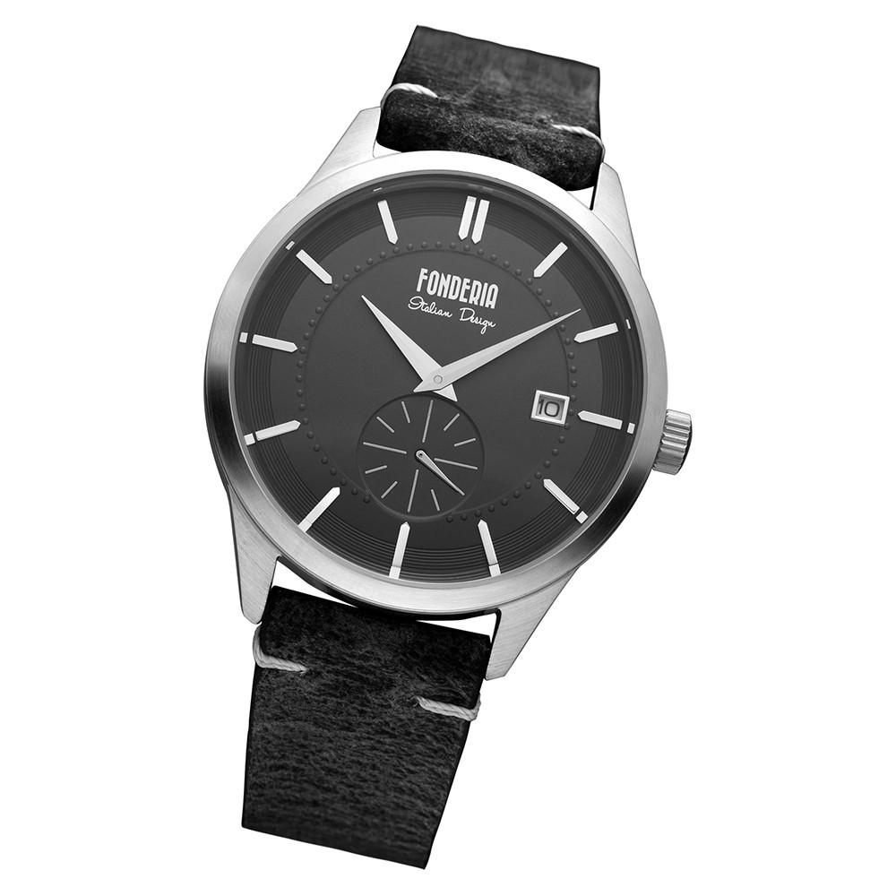 Fonderia Herren-Armbanduhr P-6A009UN1 Quarz Leder-Armband schwarz UAP6A009UN1