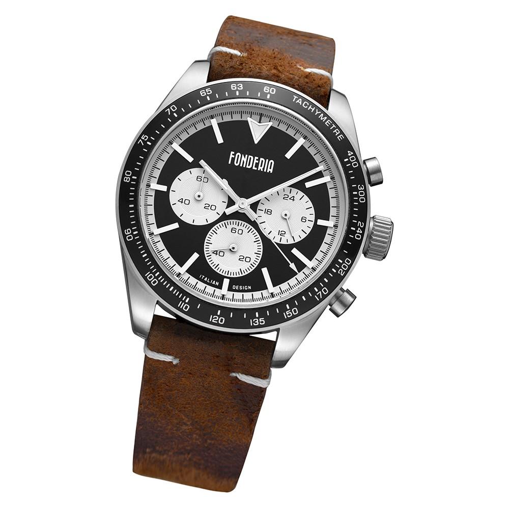 Fonderia Herren-Armbanduhr P-9A011UNW Quarz Leder-Armband braun UAP9A011UNW